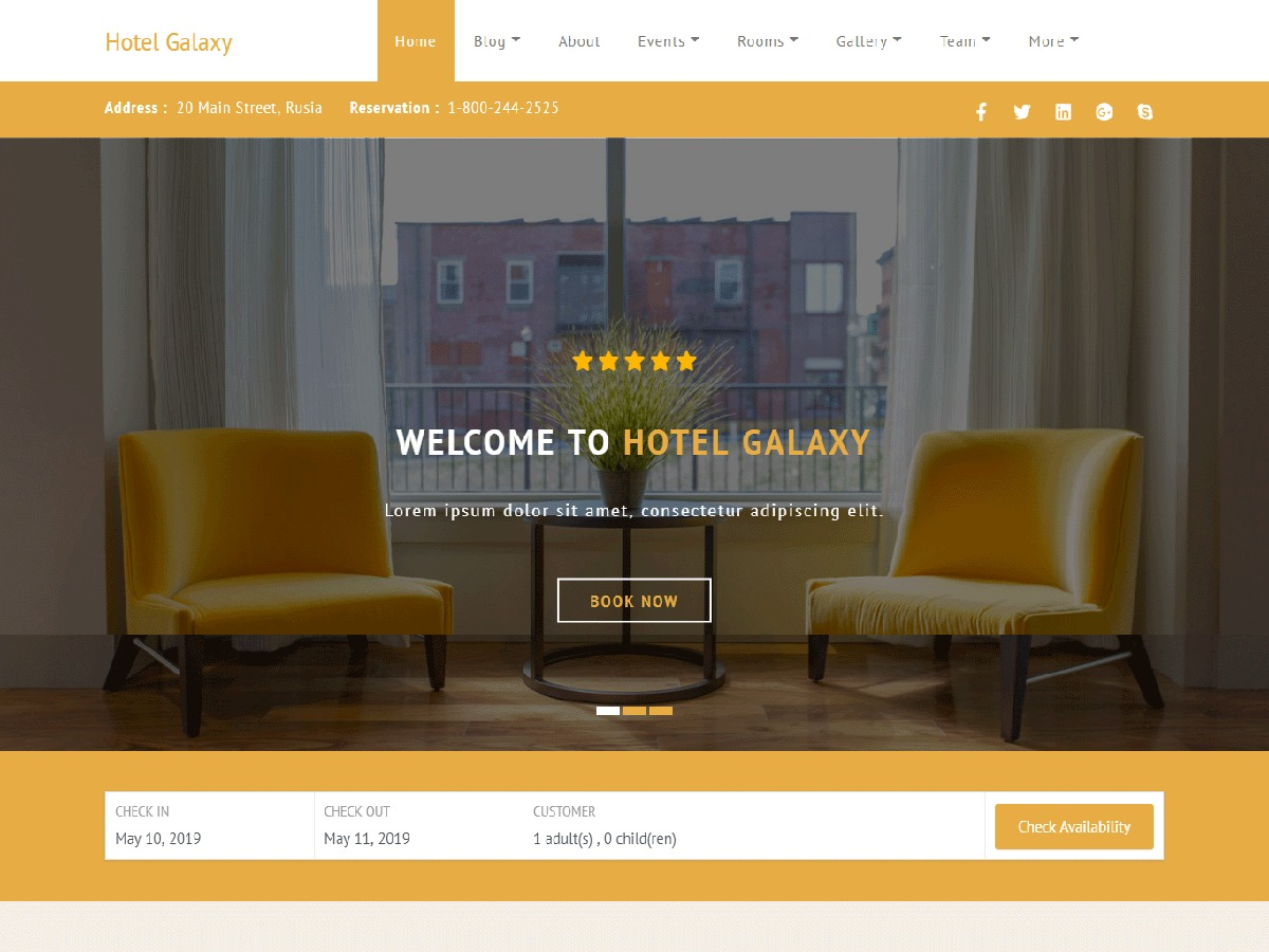 Hotel Galaxy WordPress wedding theme