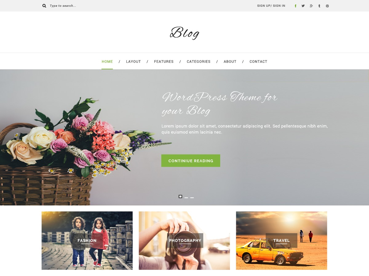 Multipurpose Blog WordPress travel theme