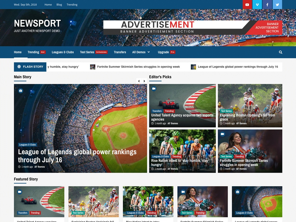 Newsport best WordPress magazine theme