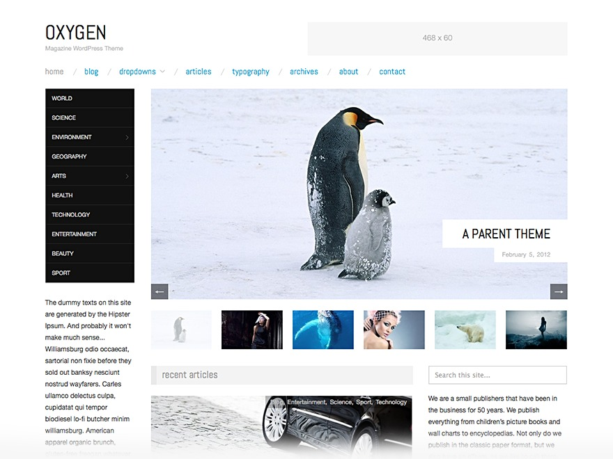 Oxygen Child newspaper WordPress theme