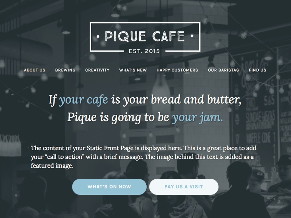 Pique WordPress template for business