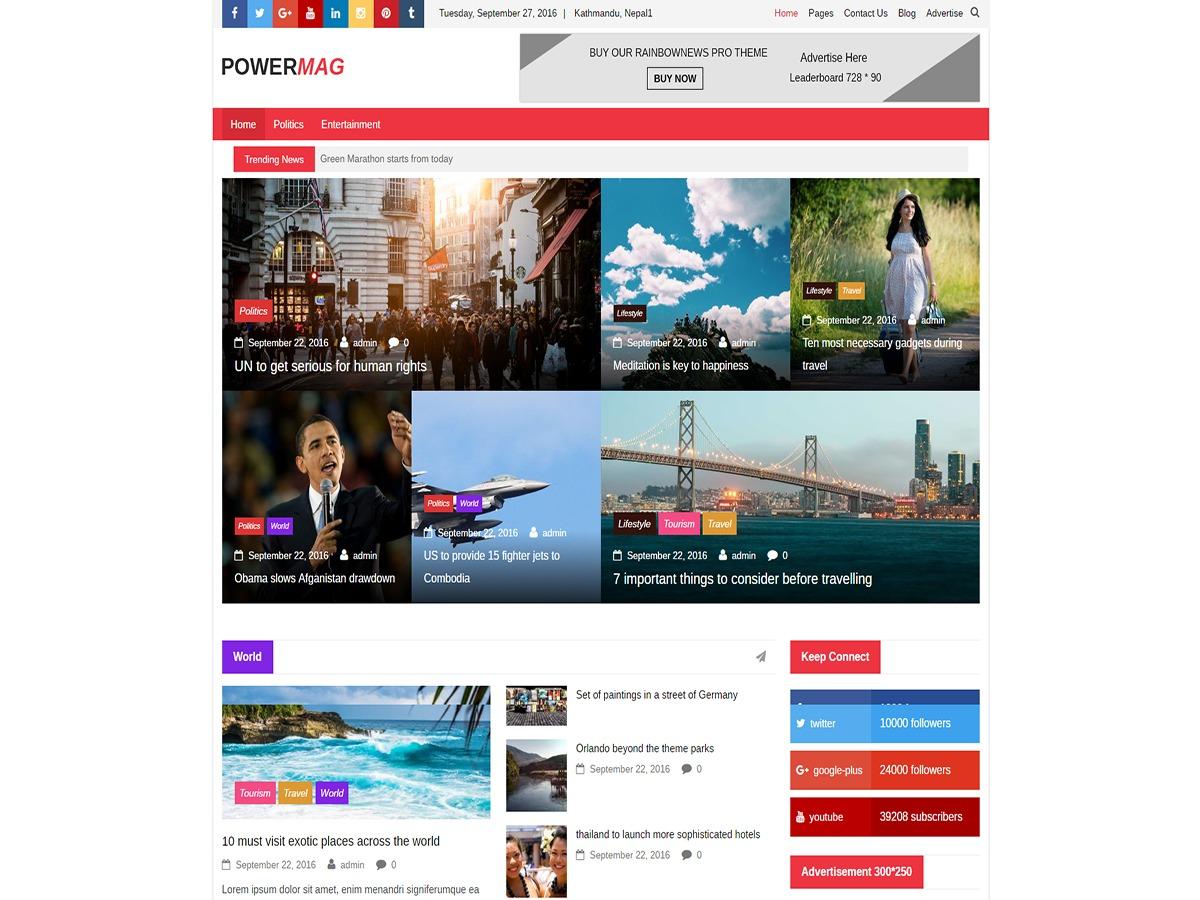 Power Mag WordPress magazine theme