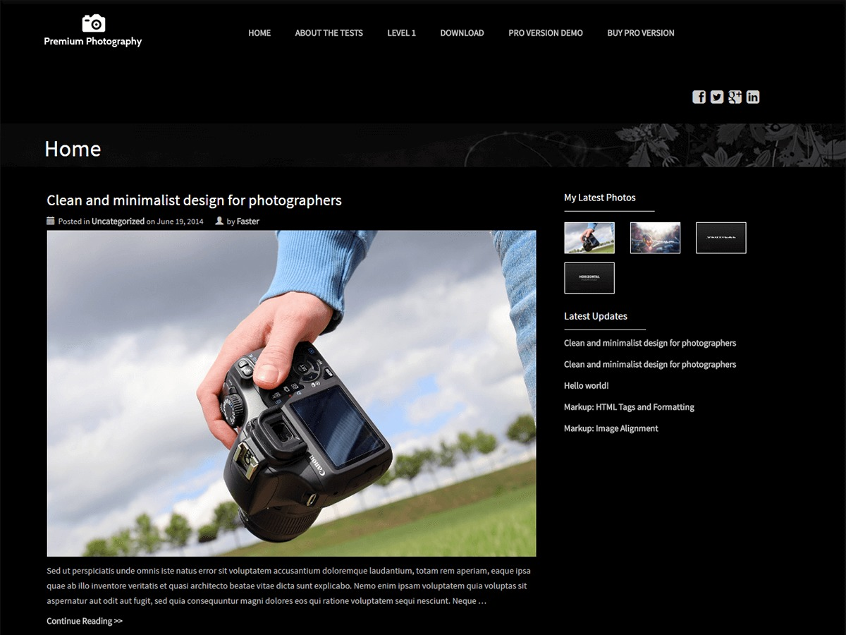 Premium Photography WordPress template free