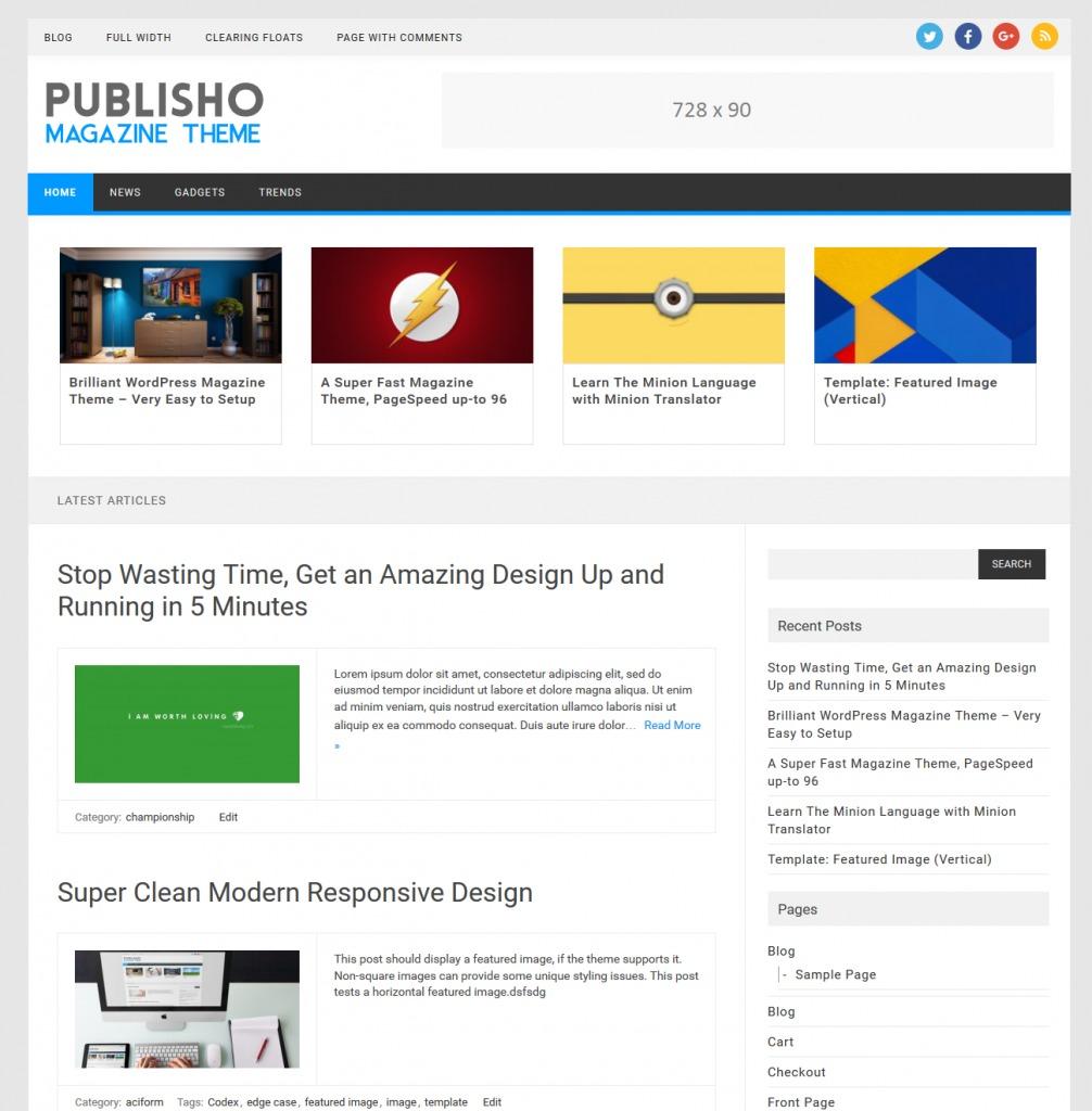 Publisho free WP theme
