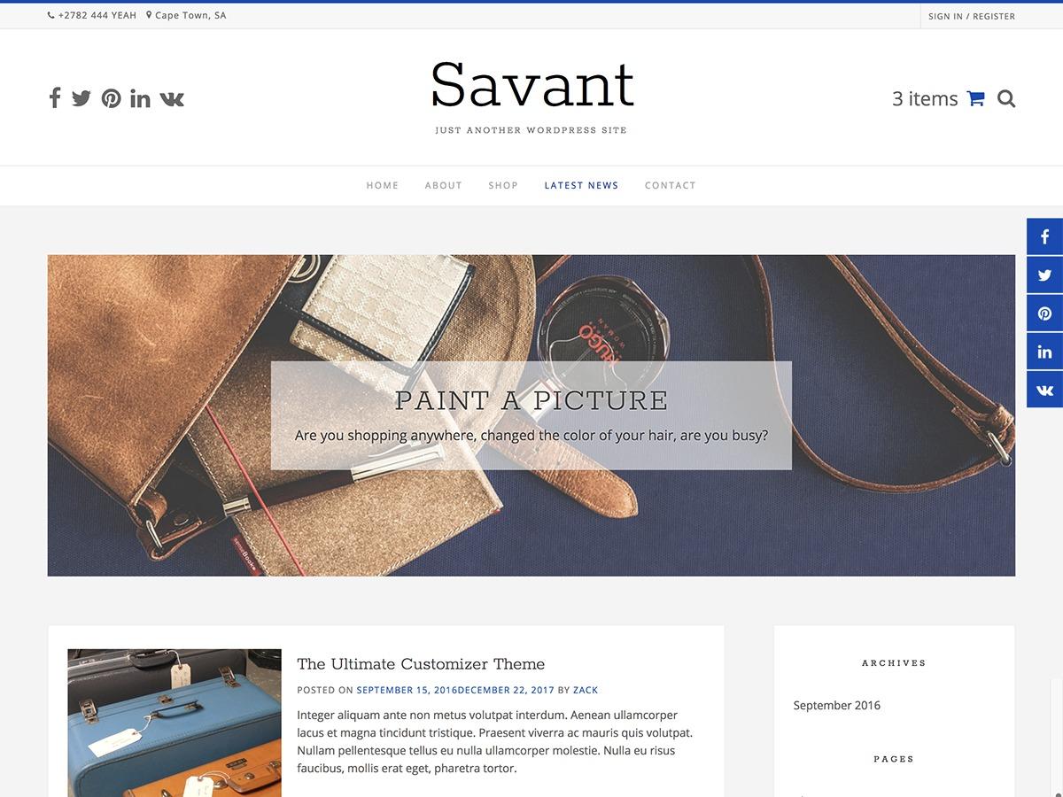 Savant template WordPress free