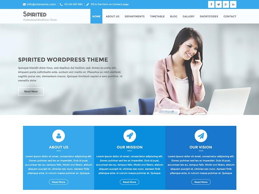 Spirited Pro company WordPress theme