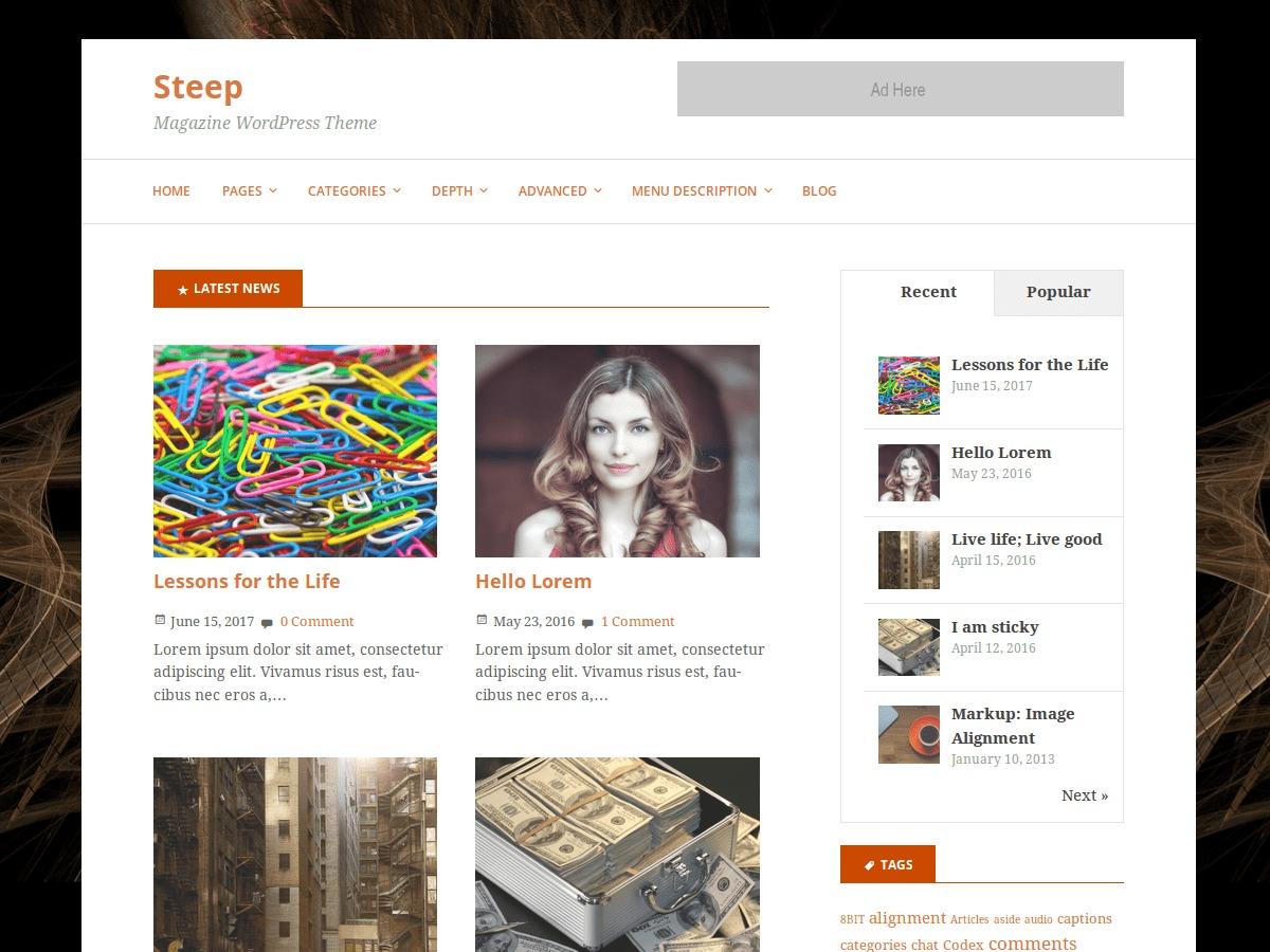 Steep WordPress magazine theme