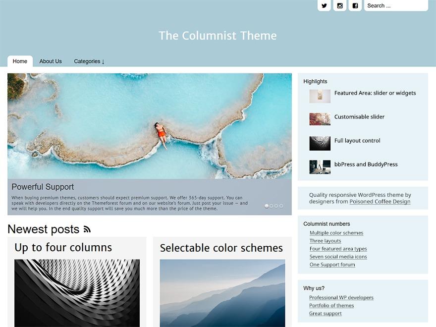 The Columnist template WordPress free