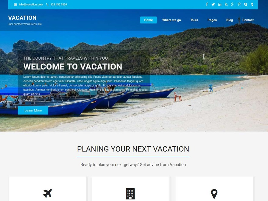 Vacation Lite free WordPress theme