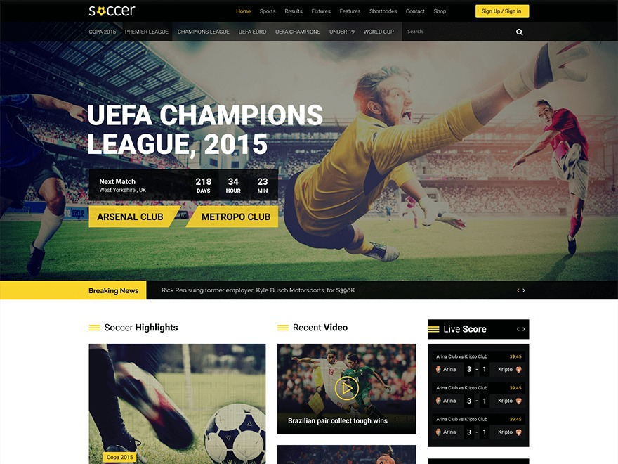 WordPress theme wpsoccer