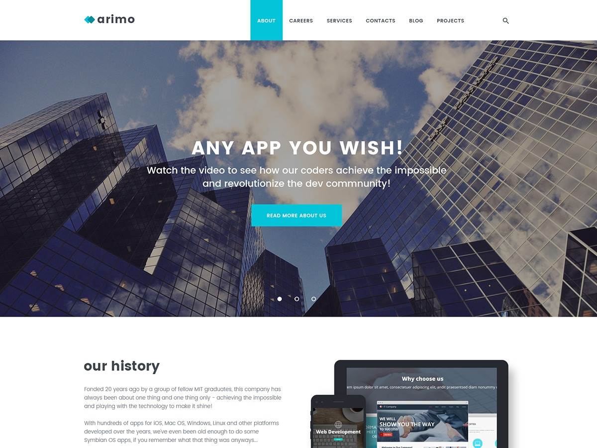 Arimo WordPress template for business