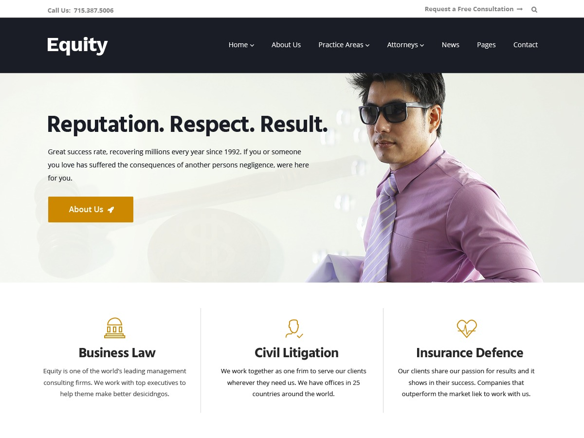 Equity WordPress template for business