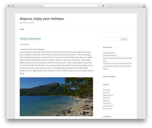 Twenty Twelve WordPress hotel theme - infomajorca.com