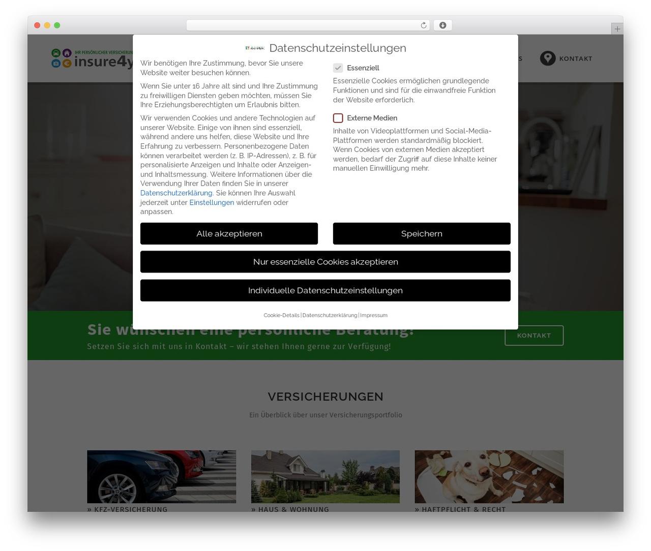 WordPress template Bridge - insure4you.de