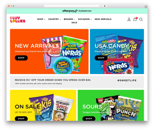 WordPress theme Divi - iluvlollies.com.au