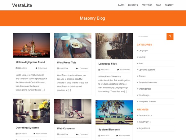 VestaLite WordPress blog template