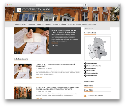Intime WordPress blog template - immobilier-toulouse-blog.com