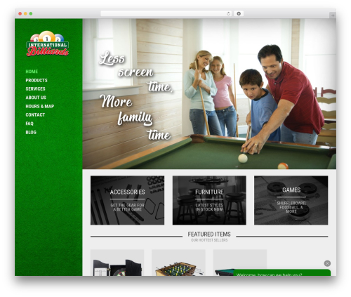 Oxygen free website theme - intlbilliards.com