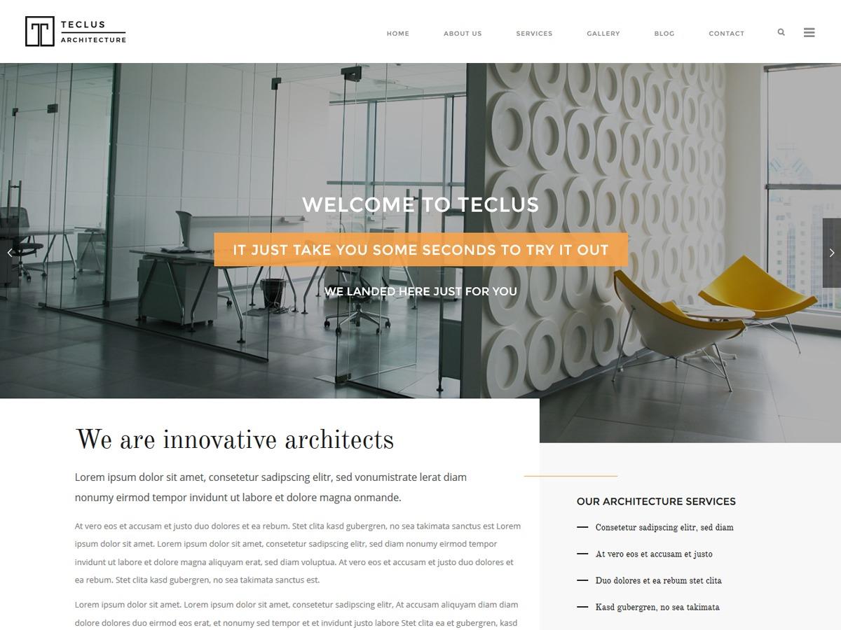 Teclus WordPress page template