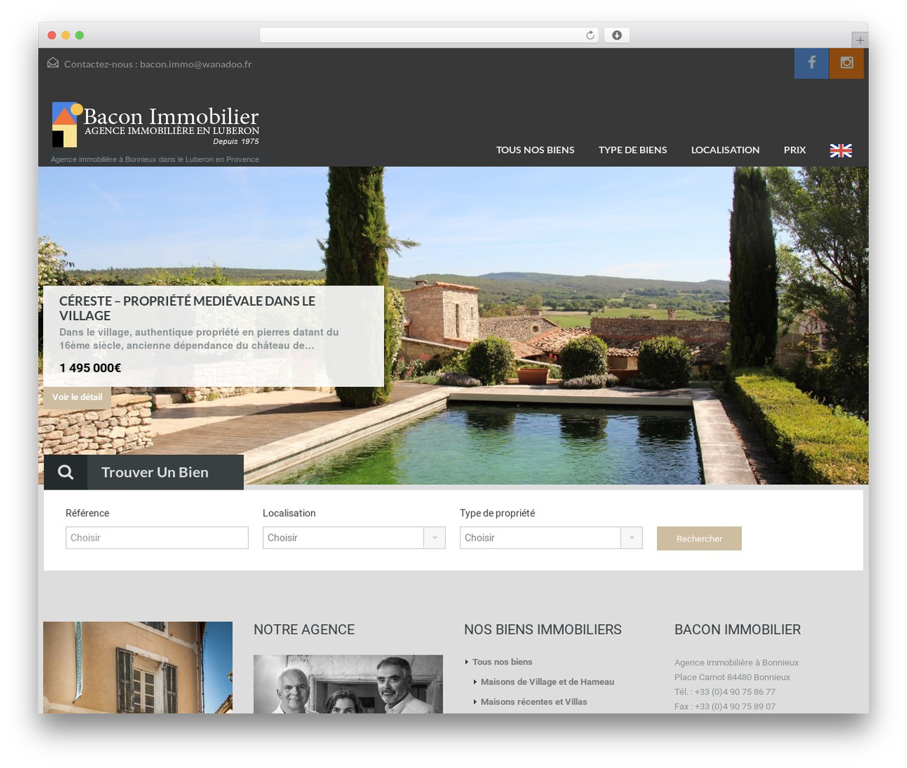 WordPress website template Bacon Immobilier - immobilier-du-luberon.com