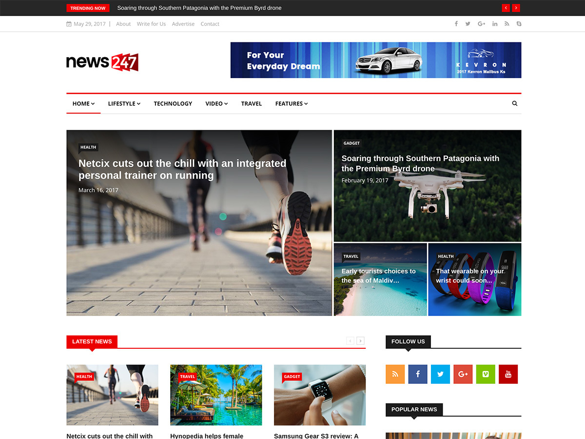 News247 WordPress magazine theme