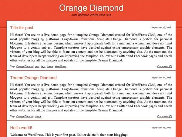 Orange Diamond WordPress theme