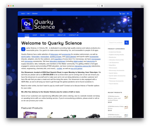 Propulsion WordPress shopping theme - quarkyscience.ca