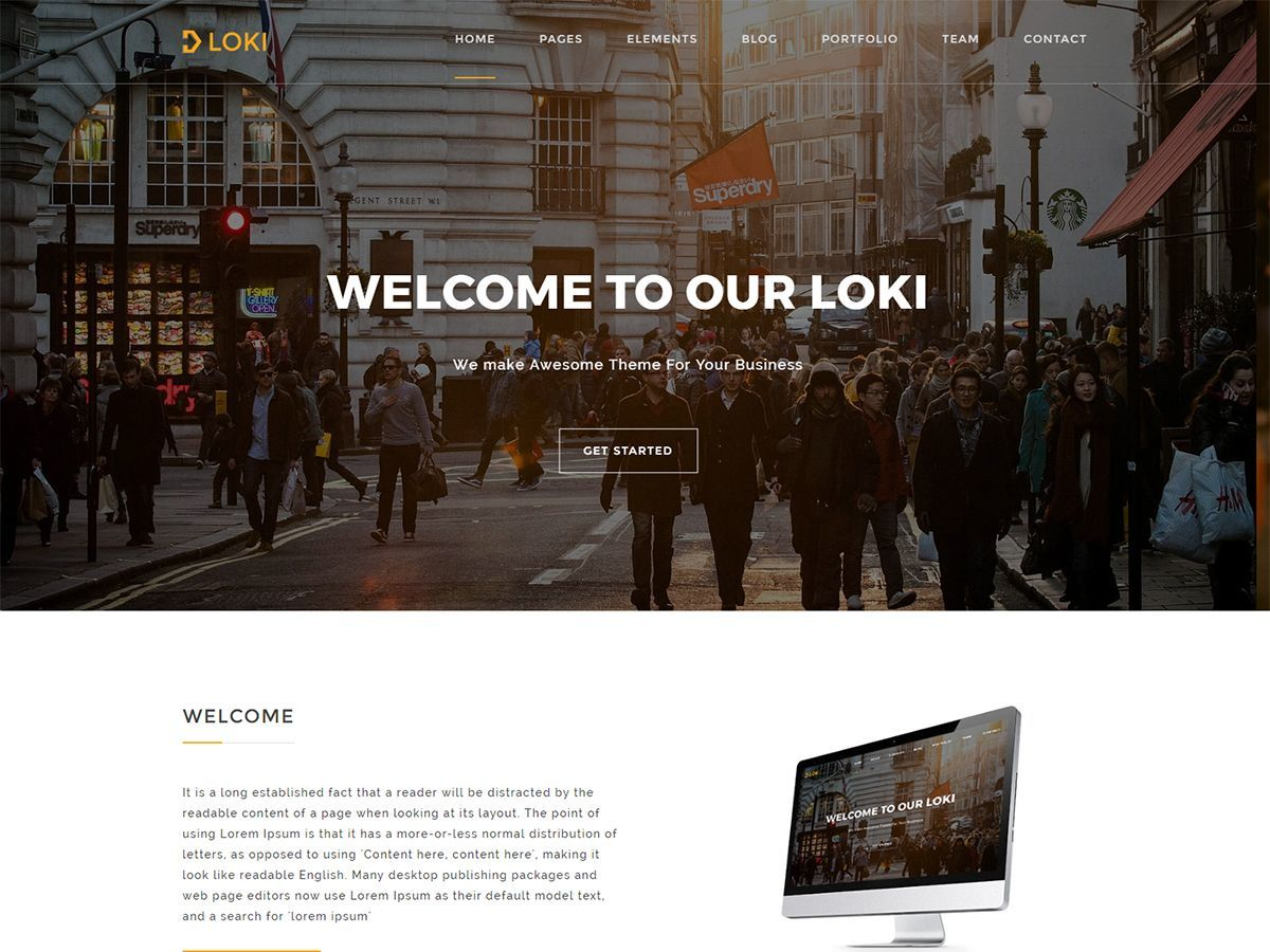 Loki WordPress template for business