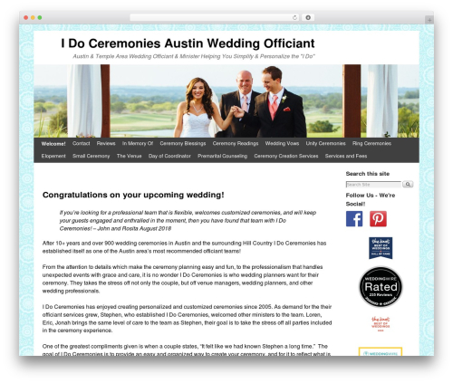 Weaver II best wedding WordPress theme - idoceremonies.org
