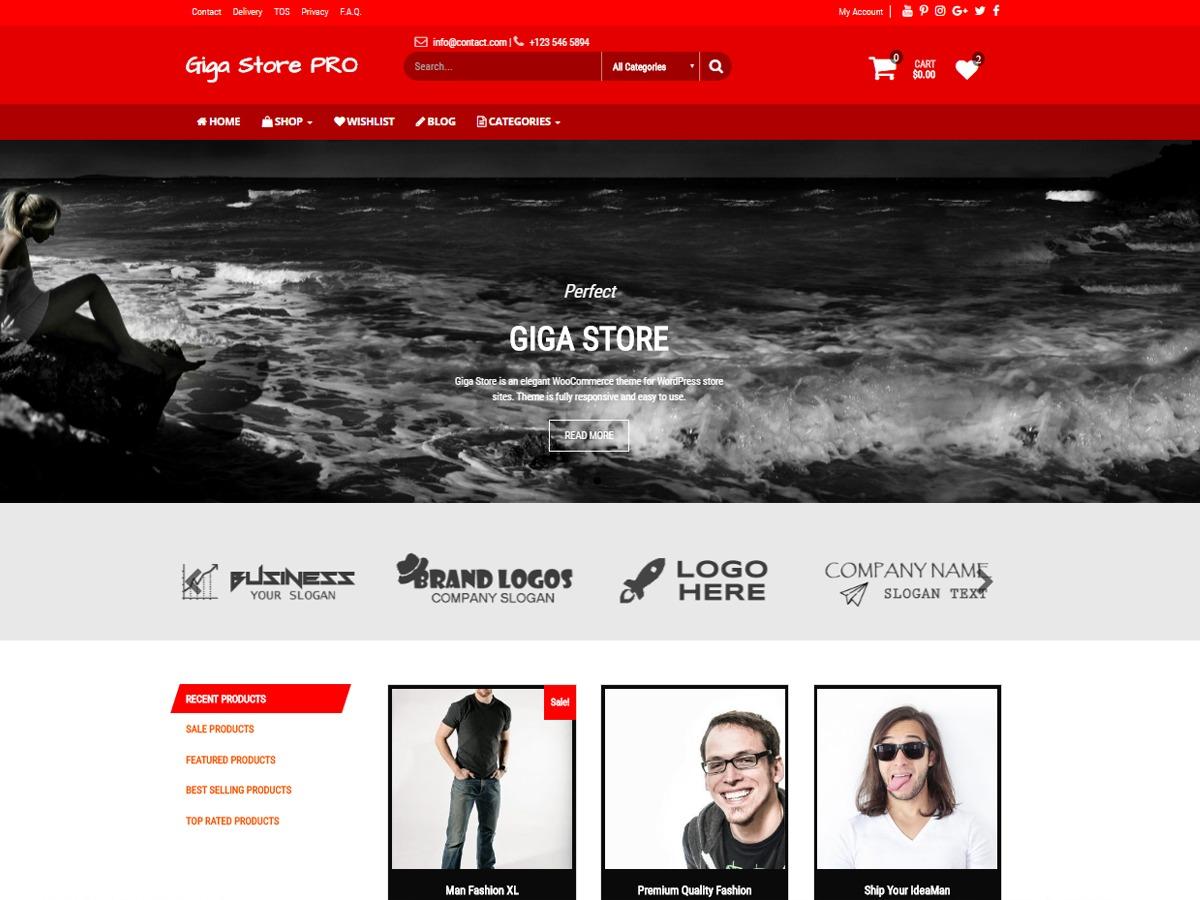 Giga Store PRO best WooCommerce theme