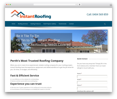 Sparse WordPress theme - instantroofing.com.au