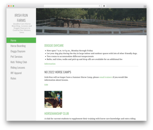 Escapade theme WordPress - irishrunfarms.com