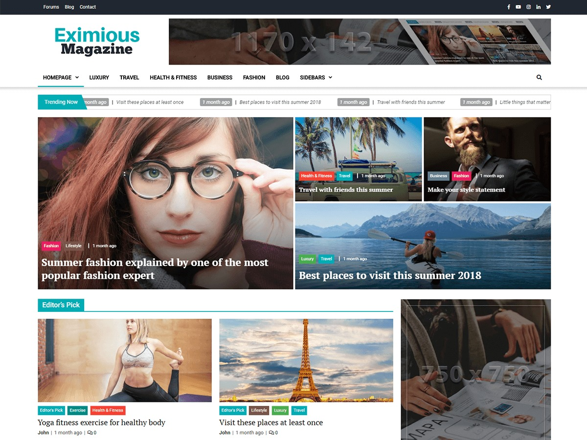 Eximious Magazine best WordPress magazine theme