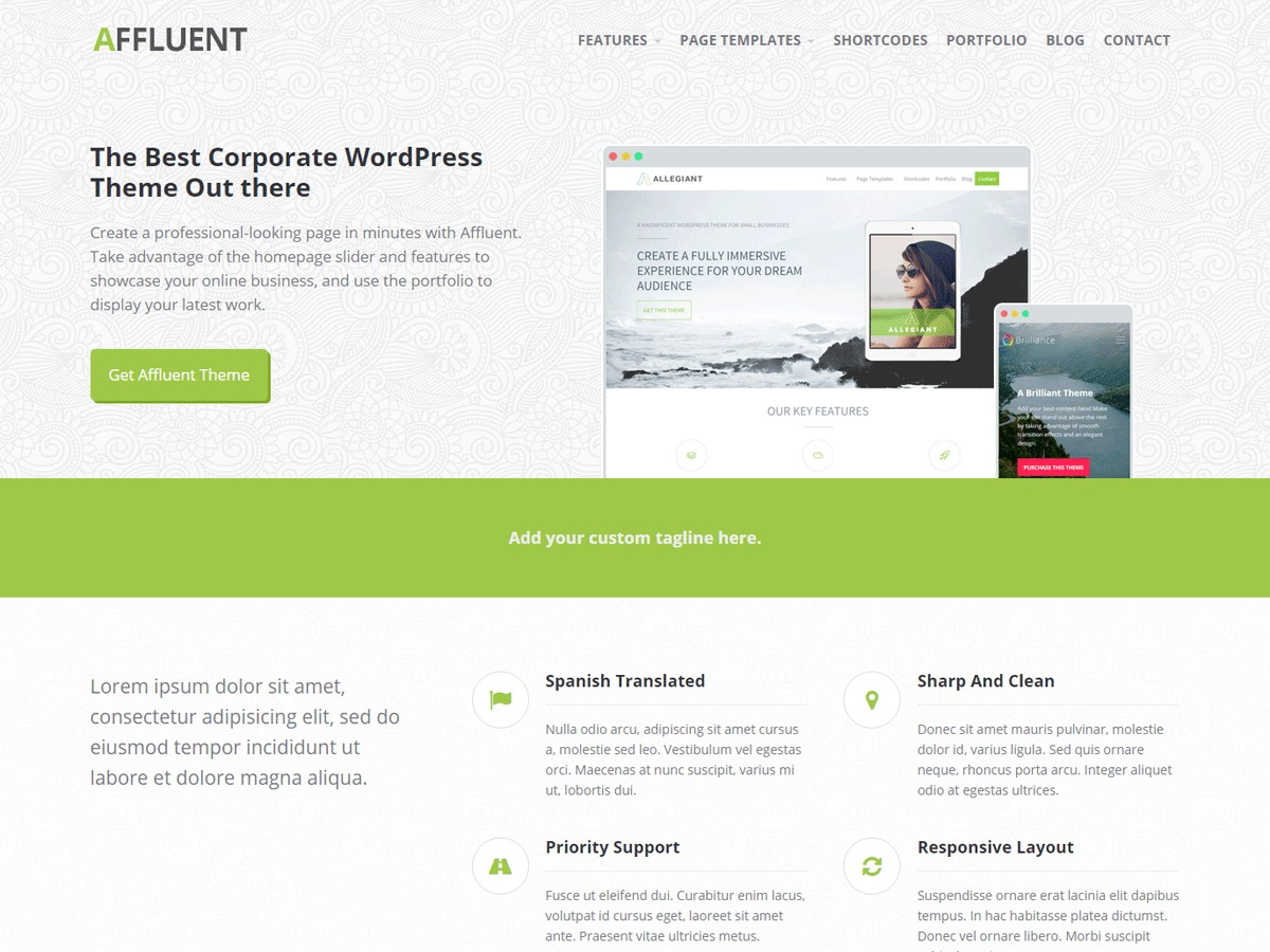 Affluent free WordPress theme
