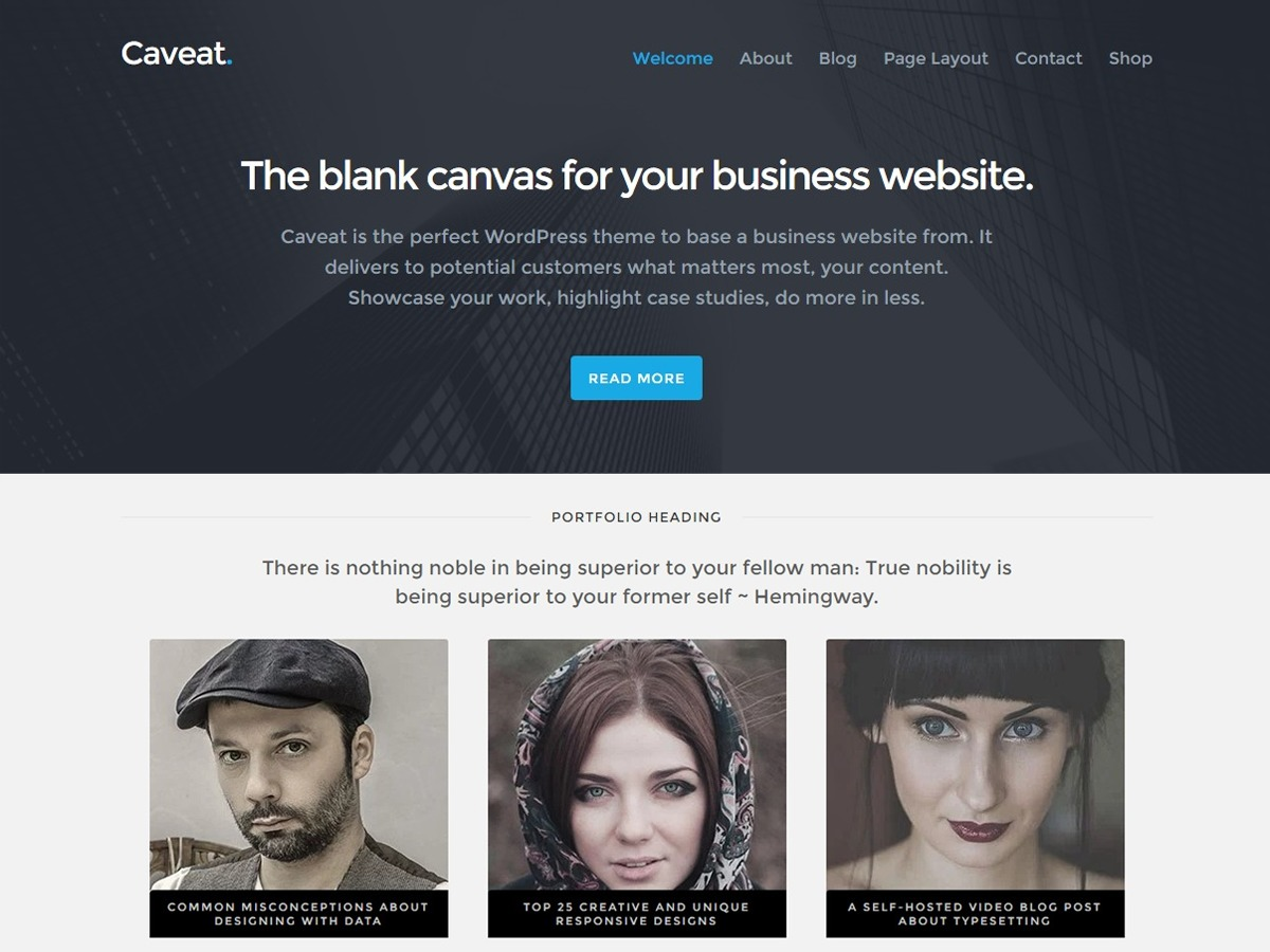 Caveat best free WordPress theme