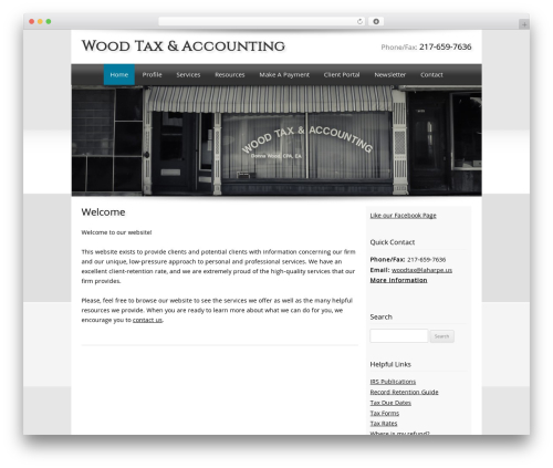 Customized WordPress template for business - woodtax.com