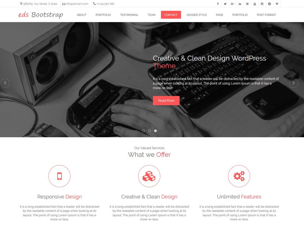 edsBootstrap Pro company WordPress theme