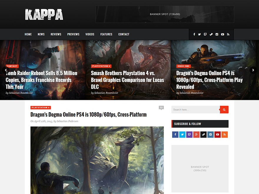 Kappa WordPress page template