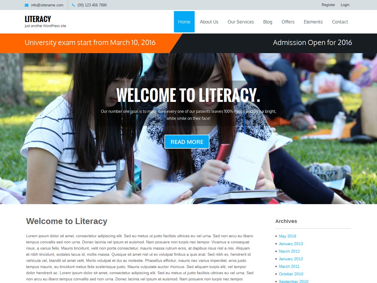 Literacy WordPress theme free download