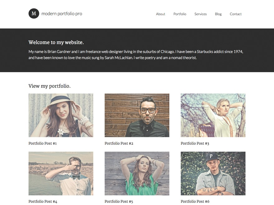 Modern Portfolio Pro WordPress photo theme