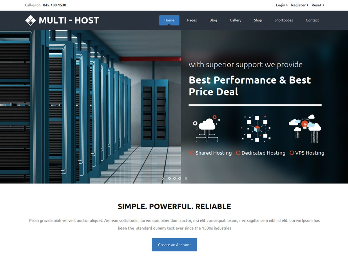 Multi Host company WordPress theme
