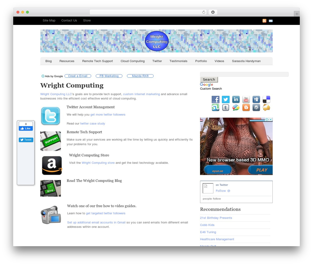 Oracle WordPress template for business - wrightcomputing.com