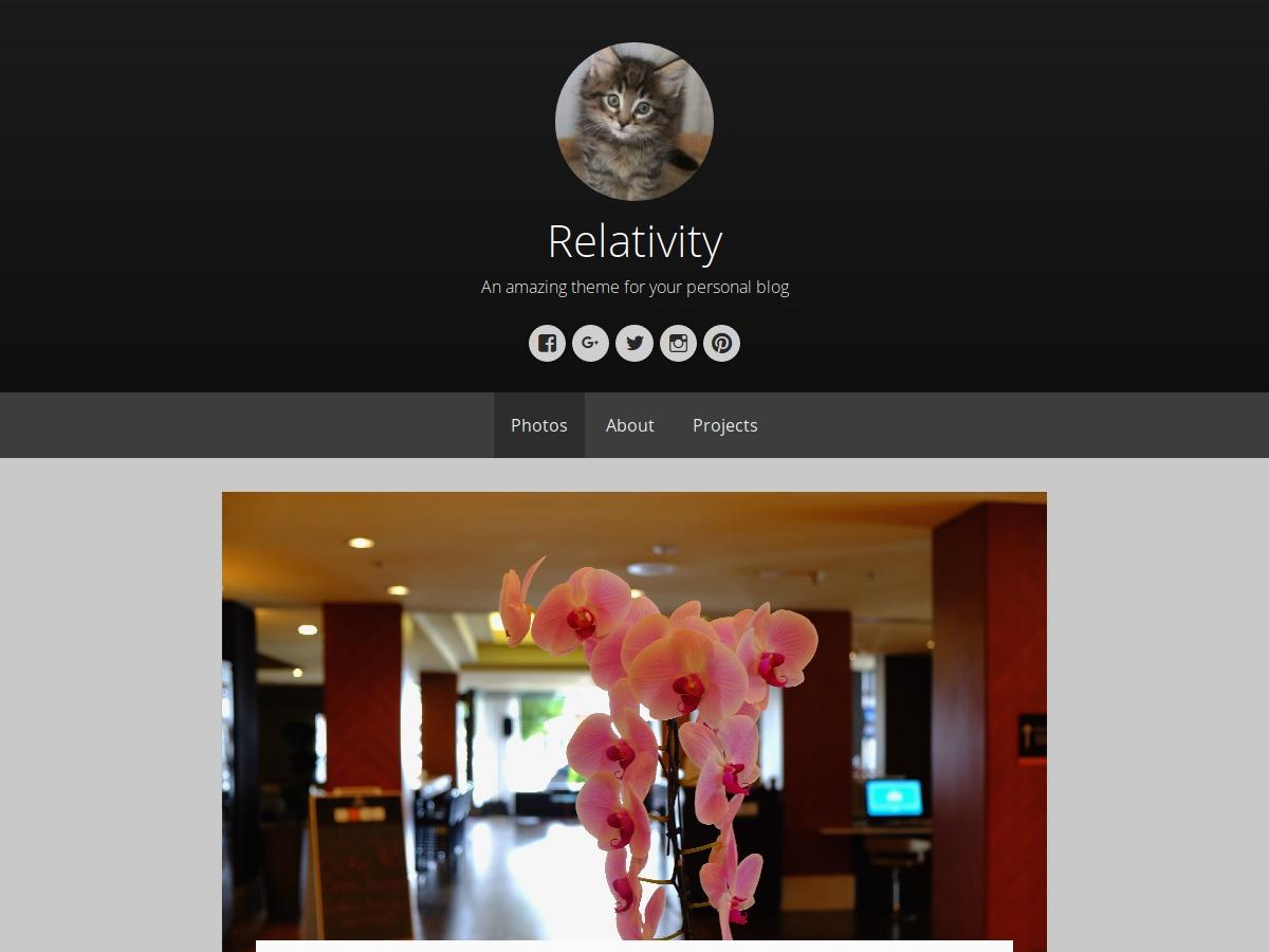Relativity WordPress blog theme