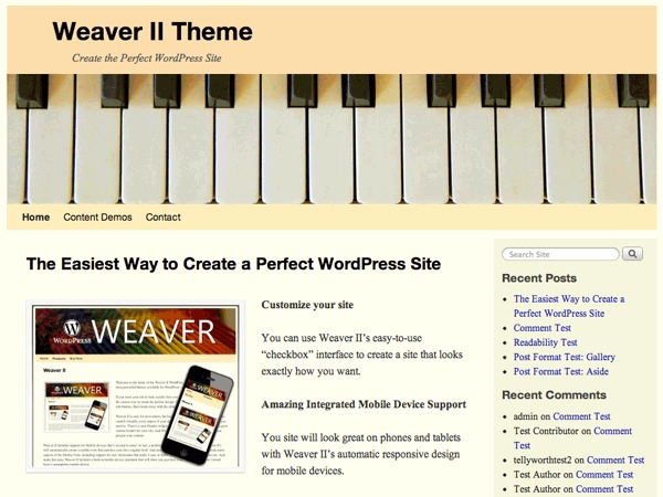WordPress theme Weaver II Child 01