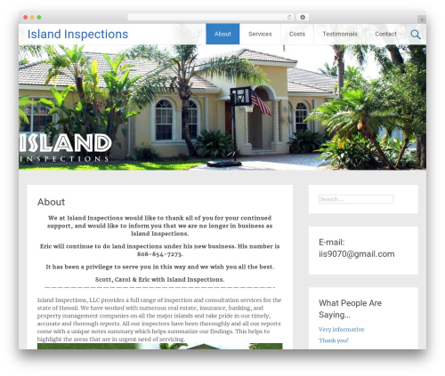 Radiate best free WordPress theme - islandinspections.com
