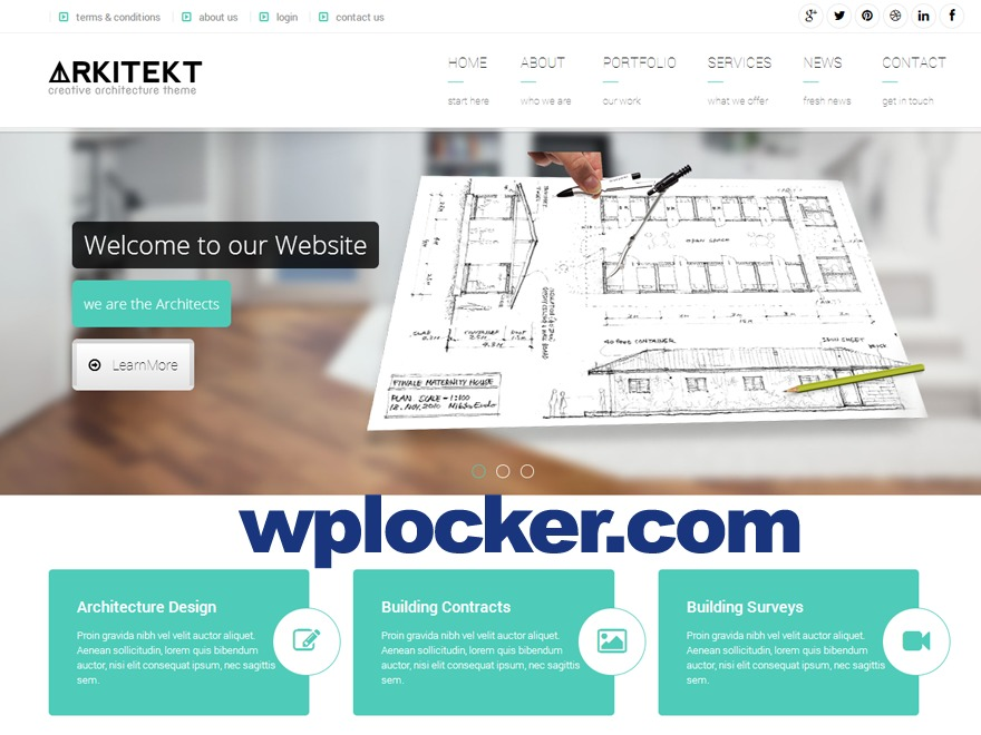 Arkitekt (shared on wplocker.com) WordPress ecommerce template