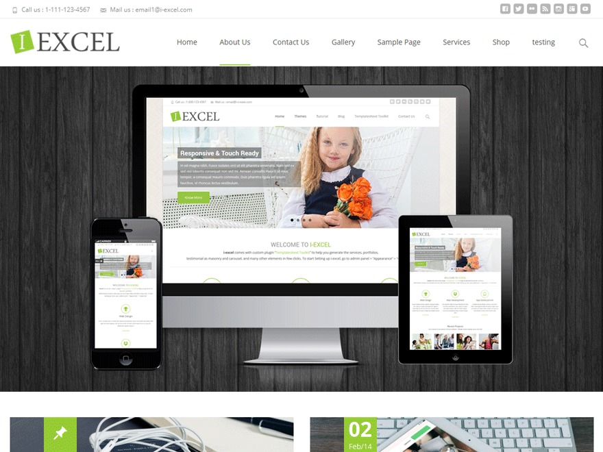 i-excel WordPress template for business