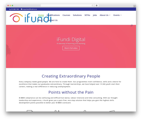 WordPress theme Divi - ifundi.co.za