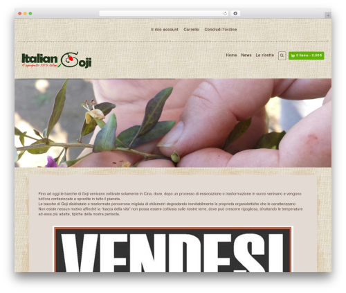 Organic Web Shop WordPress shopping theme - italiangoji.com