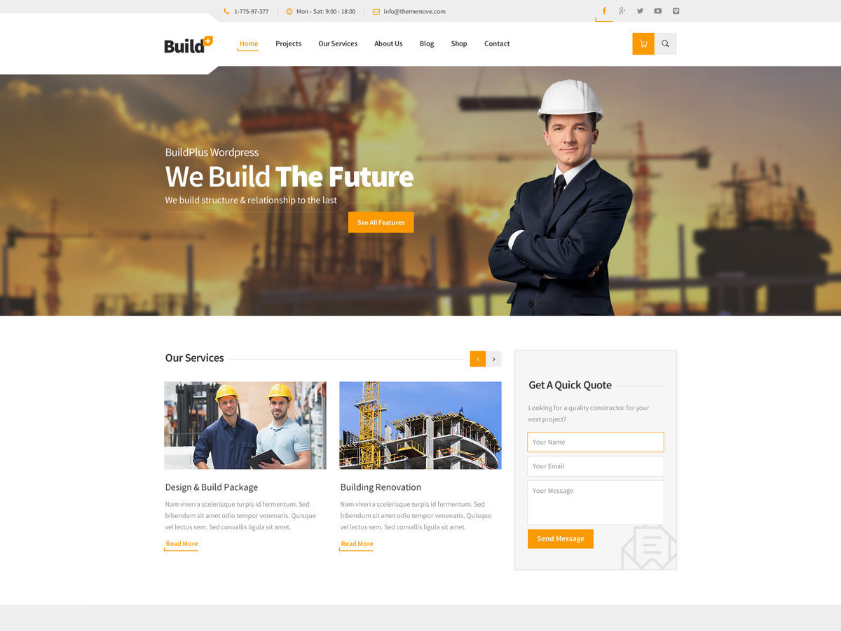 TM BuildPlus WordPress page template